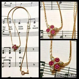 AVON Vintage pink rhinestone dainty gold necklace